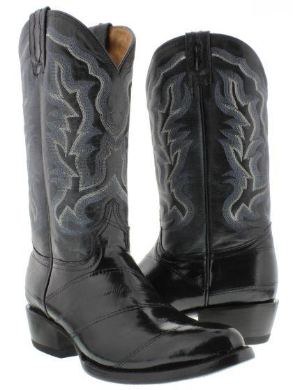 8af7d7ce367 Men's Black Genuine Smooth EEL Skin Cowboy Boots Round Toe - CP1