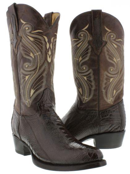 aed83116012 Men's Brown Genuine Ostrich Leg Skin Leather Cowboy Boots Round Toe