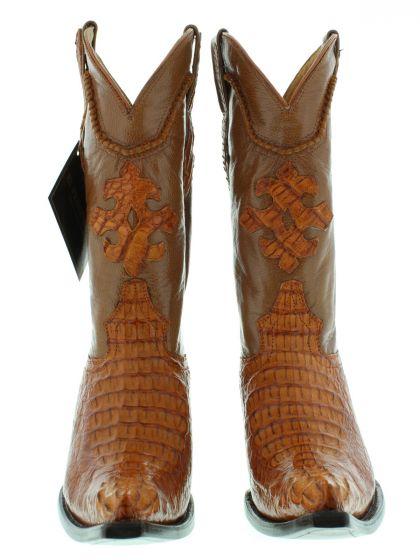f54ef4c09b2 Men's Cognac Brown Real Crocodile Head Leather Cowboy Boots 3X Toe