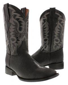 Men's Black Stingray Single Stone Design Leather Cowboy Boots Square Toe