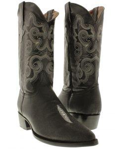 Men's Black Stingray Single Stone Design Leather Cowboy Boots J Toe