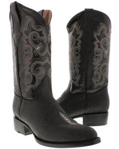 Men's Stingray Single Stone Design Leather Cowboy Boots Round Toe
