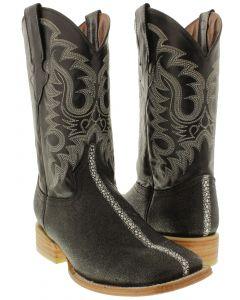 Men's Black Stingray Row Stone Design Leather Cowboy Boots Square Toe