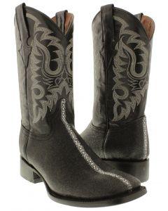 Men's Stingray Row Stone Design Leather Cowboy Boots Square Toe Dark Sole