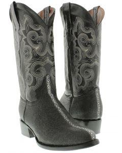 Men's Black Stingray Row Stone Design Leather Cowboy Boots Round Toe
