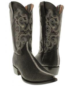 Men's Stingray Row Stone Design Leather Cowboy Boots J Toe