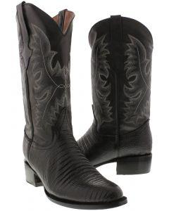 Men's Black Lizard Design Leather Cowboy Boots Round Toe