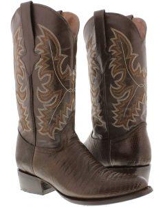 Men's Brown Lizard Design Leather Cowboy Boots Round Toe