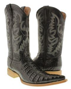 Men's Black Exotic Crocodile Belly Cut Pullon Western Cowboy Boots