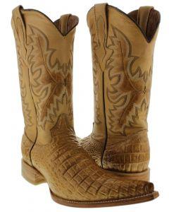 Men's Sand Exotic Crocodile Belly Cut Pullon Western Cowboy Boots XXX Toe