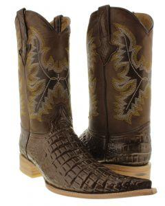 Men's Brown Exotic Crocodile Belly Cut Pullon Western Cowboy Boots....