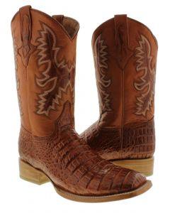 Men's Cognac Crocodile Belly Cowboy Boots Square Toe