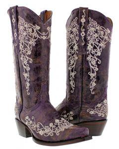 Women's Abilene Purple Embroidered Rhinestone Cowboy Boots Snip Toe - CP5