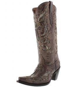 Women's T670C Brown Tall Cross Inlay Python Design Cowboy Boots Snip Toe - CP2