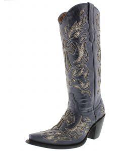 Women's T670C Denim Blue Tall Cross Inlay Python Design Cowboy Boots Snip - CP2