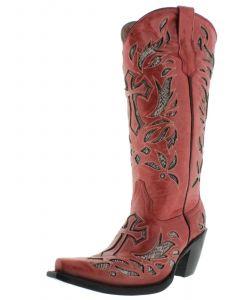 Women's T670C Red Tall Cross Inlay Python Design Cowboy Boots Snip Toe - CP2