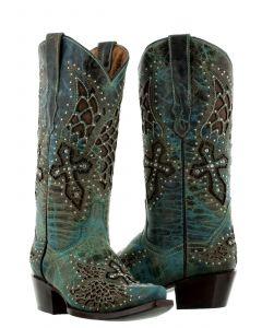 Women's Alas Turquoise Cross & Wings Inlay Rhinestones Cowboy Boots Snip - CP5