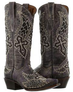 Women's  Cowboy Boots Alas Purple Cross & Wings Inlay Rhinestones Snip Toe - CP5