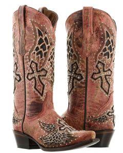 Women's Cowboy Boots Alas Red Cross & Wings Inlay Rhinestones Snip Toe - CP5
