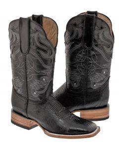 Men's Jet Black Gray Stitched Leather Cowboy Boots Western Square Toe - TC1