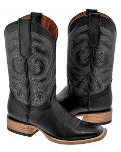 Men's Black Stitched Leather Cowboy Boots Western Square Toe - TC1
