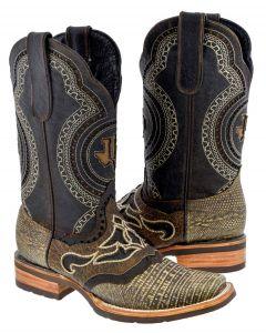 Men's Rustic Sand Brown Lizard Exotic Print Overlay Rodeo Toe - TC1