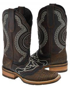 Men's Rustic Dark Brown Lizard Exotic Print Overlay Rodeo Toe - TC1