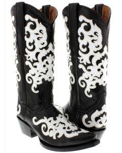 Women's Marsella Black & White Overlay Cowgirl Boots Snip Toe - CP5
