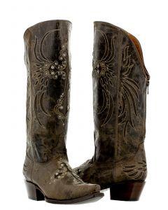 Women's Fuego Brown Cross Inlay Rhinestone Cowboy Boots Snip Toe - CP5