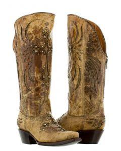 Women's Fuego Beige Cross Inlay Rhinestone Cowboy Boots Snip Toe - CP5