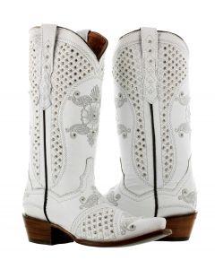 Women's Marfil White Rhinestones Embroidery Wedding Cowboy Boots Snip Toe - CP5
