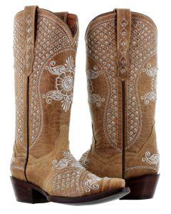 Women's Marfil Sand Rhinestones Embroidery Wedding Cowboy Boots Snip Toe - CP5