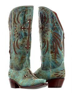 Women's Fuego Turquoise Cross Inlay Rhinestone Cowboy Boots Snip Toe - CP5
