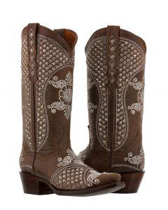 Women's Marfil Brown Rhinestones Embroidery Wedding Cowboy Boots Snip Toe - CP5