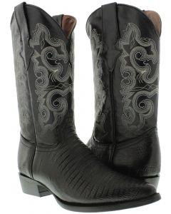 Men's Black Exotic Lizard Design Leather Cowboy Boots J Toe