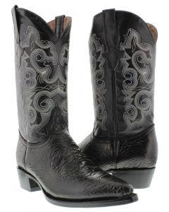 Men's Black Sea Turtle Design Leather Cowboy Boots J Toe