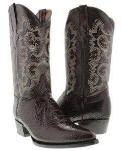Men's Brown Sea Turtle Design Leather Cowboy Boots J Toe