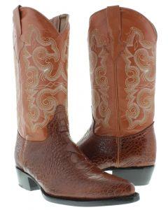 Men's Cognac Sea Turtle Design Leather Cowboy Boots J Toe