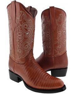 Men's Cognac Lizard Design Leather Cowboy Boots Round Toe