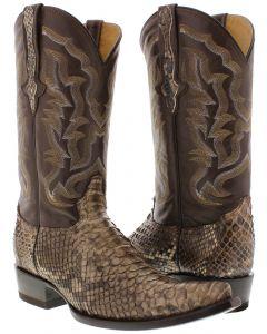Men's Brown Genuine Python Back Snake Skin Cowboy Boots 3X Toe - CP1