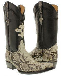 Men's Natural Genuine Python Back Snake Skin Cowboy Boots 3X Toe - CP1