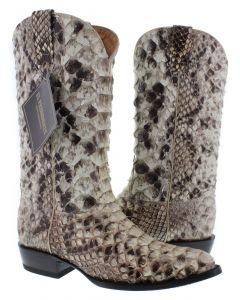 Men's Natural Full Genuine Python Belly Snake Skin Cowboy Boots J Toe - CP1