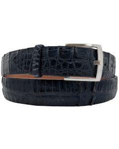 Men's Denim Blue Genuine Crocodile Skin Belt Silver Buckle