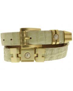 Men's Beige Genuine Crocodile Skin Belt Golden Links