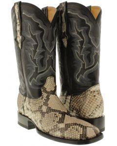 Men's Natural Genuine Python Belly Snake Skin Black Sole Cowboy Boots.