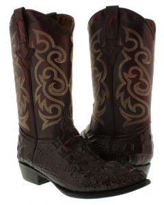Men's Black Cherry Crocodile Alligator Hornback Cut Design Leather Cowboy Boots