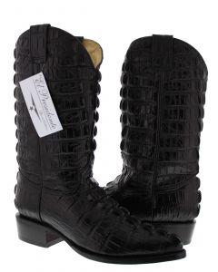 Men's Black Full Alligator Tail Design Western Cowboy Boots J Toe