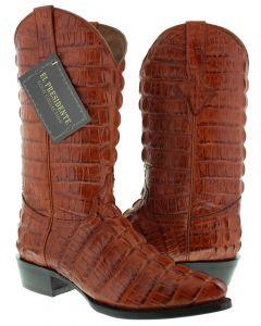 Men's Cognac Full Alligator Tail Design Western Cowboy Boots J Toe