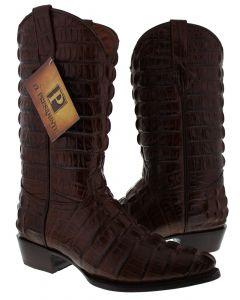Men's Brown Full Alligator Tail Design Western Cowboy Boots J Toe