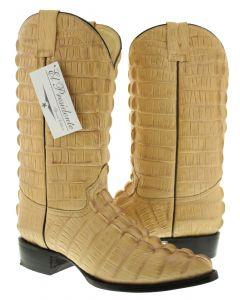 Men's Beige Full Alligator Tail Design Western Cowboy Boots J Toe